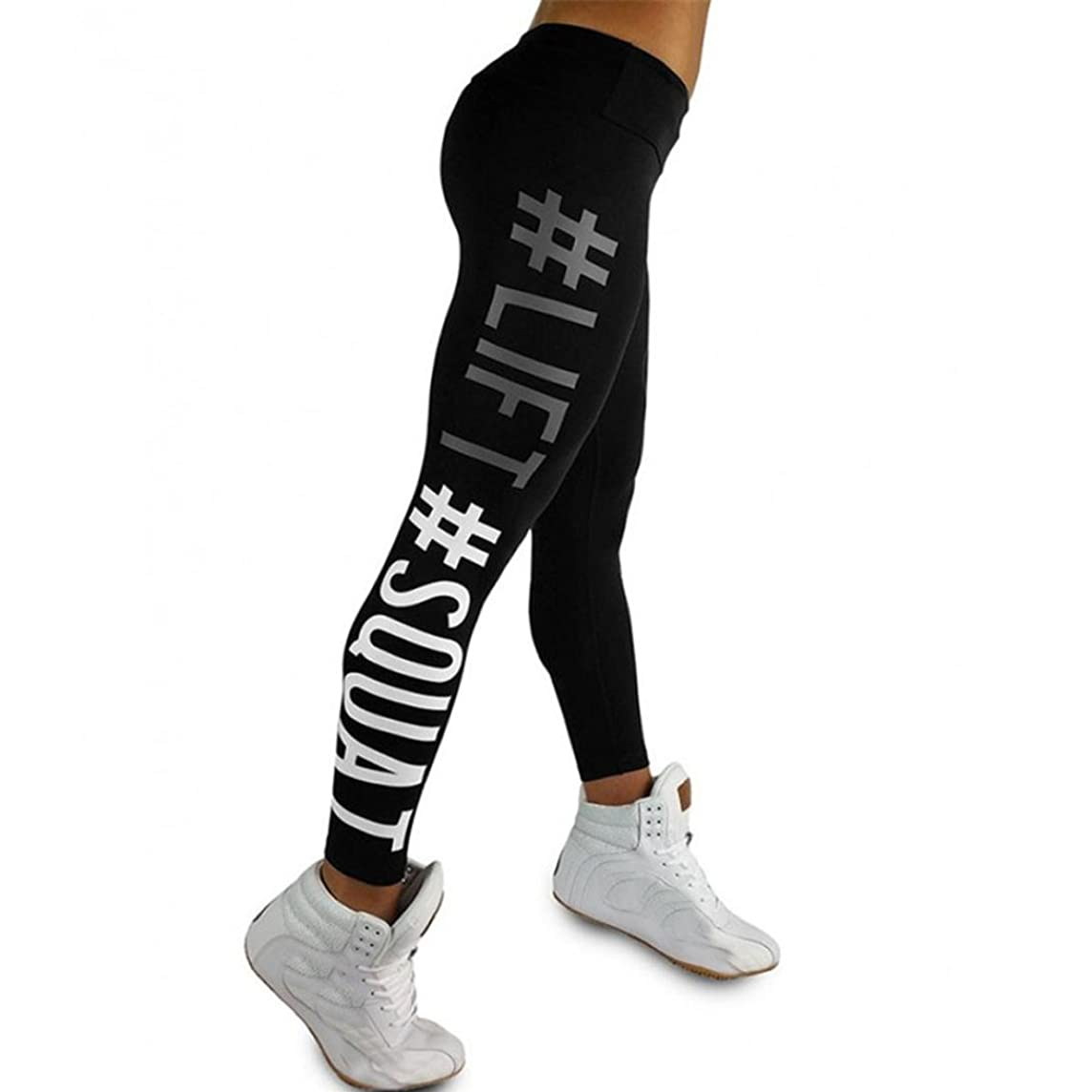 Life Squat Letter Yoga Pants, Women's Fashion Workout Leggings Fitness Sports Gym Running Yoga Athletic Pants by E-Scenery