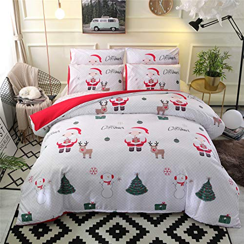 RENXR Snowman And Pillowcase Bedding Bed Set, Father Christmas Quilt Duvet Cover Kids Xmas Multi-Colour,Queen