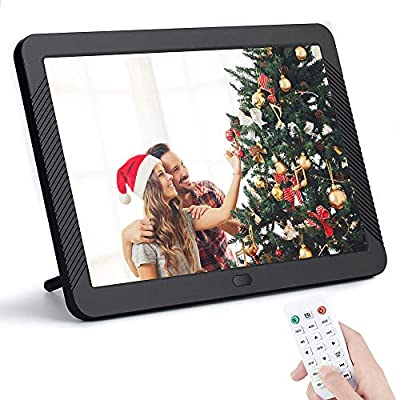 8 Inch Digital Picture Frame 1920x1080 IPS Widescreen, Digital Video Photo Frame with 100 Brightness, 10 Slideshow Effects, 5 Play Modes and Calendar Alarm SD/USB Slots-Black