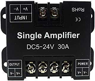 LEDENET Single Color LED Amplifier 30A Data Signal Repeater 1CH 1 Channel Dimmer Power Amplifier for White LED Strip Lights 5V 12V 24V (30A Single Color Amplifier)