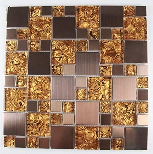 Glasmosaik Edelstahl Mosaik Fliesen Mosaikfliesen Glasfliesen Glas Braun 30x30 Neu