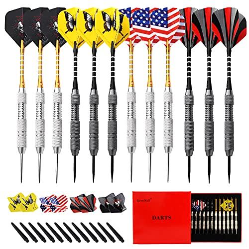 Rose Kuli Steel Tip Darts Steel Tip Set Professional Darts, 24 Grams and 22 Grams Metal Tipped Darts...