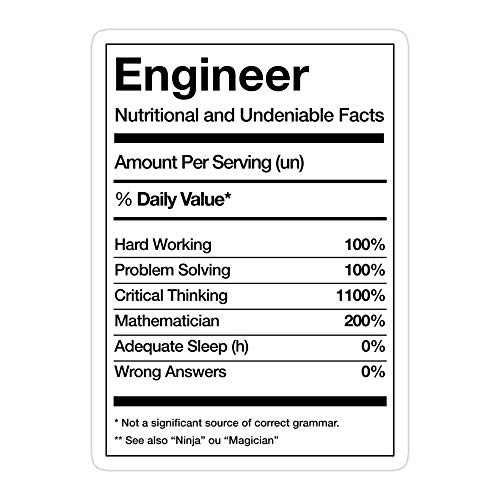 MONKEYSTYLE (3 Pcs/Pack) Engineering Engineer Funny Die-Cut Stickers Decals for Laptop Window Car Bumper Helmet Water Bottle
