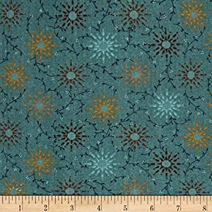 "Henry Glass Teal 108"" Wide Quilt Backing Prairie Vine Fabric By The Yard"