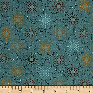 """Henry Glass Teal 108"""" Wide Quilt Backing Prairie Vine Fabric By The Yard"""