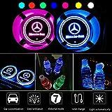 Florvine - Juego de 2 luces LED para el soporte de vasos del coche, con logotipo, 7colores diferentes, se cargan mediante USB, sirven como luz de ambiente