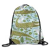 Etryrt Mochilas/Bolsas de Gimnasia,Bolsas de Cuerdas, Turtle Lucky Printed Cartoon Drawstring Backpack Teen Girl Large Capacity Daypack Tote Travel 16.9' 14'
