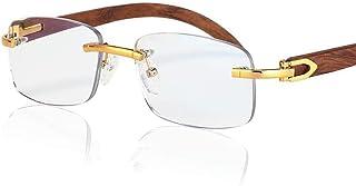 MTYJ Houten Been Leesbril Vrouwen Anti Blue Light Computer Rimless Bril Mannen Vrouwen Golden Leader Leesbril -7.25 (Eye P...