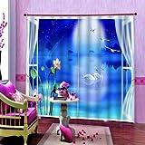 ZHYY Estilo Chino 3D Swan Lake Lotus Cortina para Sala de Estar Dormitorio Noche Cielo Estrellado Blackout Cortinas de Ventana Decoración Interior Sets wide300cm high270cm
