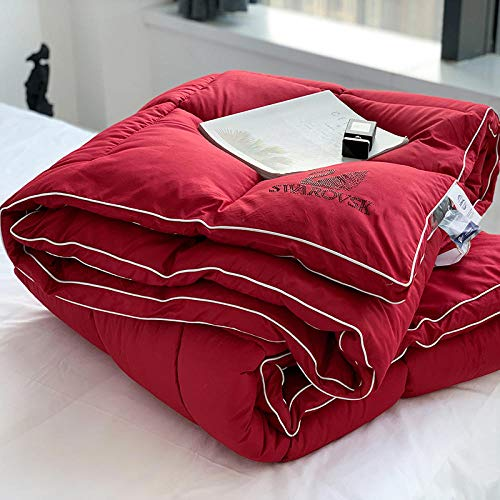 Hahaemall Lightweight Duvet Double 100% Natural Cotton Duvet Quilt/Ultra-Light/Keep Warm Anti-Dust Mite & Feather-Proof Fabric, All Season-200X230Cm-3Kg_Red