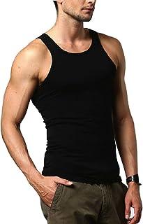 Zhhlaixing トレンド Men's Flexible Elastic Cotton Sleeveless Shirt 品質ベスト Fitness Tank Top