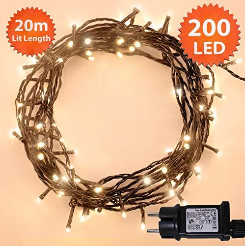 Lichterkette Weihnachtsbeleuchtung außen 200 LED Warme weiße innen led lichterkette weihnachtsbaum Gedächtnisfunktion, Netzbetriebene 20m Lit-Länge- GRUNES KABEL