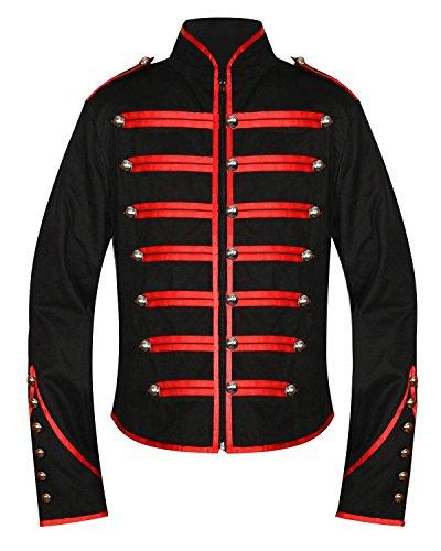 Chaqueta de desfile para tambor de banda militar Men's Unique, para hombre, de estilo gótico, steampunk, punk y emo, color negro y rojo Negro negro/rojo Large