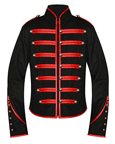 Men's Unique Gothic Steampunk Red Black Parade Military Marching Band Drummer Jacket Goth Punk Emo (Medium)
