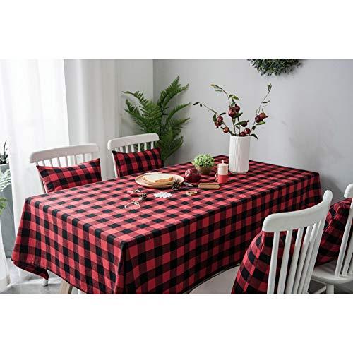 GEDASHU Mantel Estilo Rural Rojo y Negro Rejilla Mantel Algodon Lino Negro Blanco Cubierta de Mesa Decoracion navidena para Mesa de Comedor