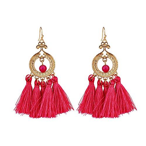 Pendientes Nuevo Bohemian Retro Multicolor Pendientes Pendientes DE Moda DE LADRES DE DAMIENTOS Pendientes DE Temperamento Pendientes de botón para Mujer (Color : Red)