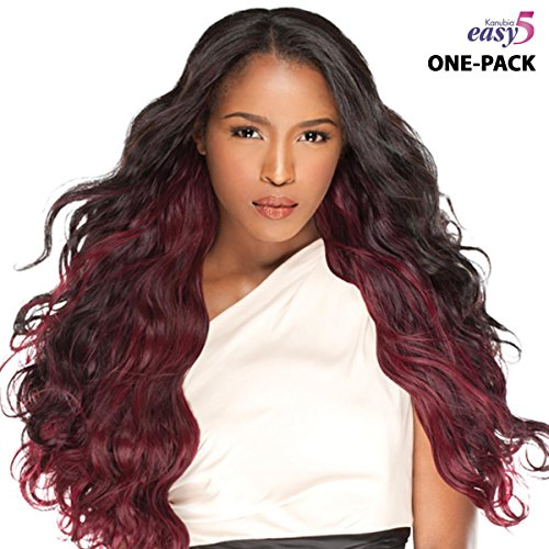 [4 mèches Pack complet + Closure] sensationnel Natural Wavy – Easy 5 (HRF de kanubia) – Weave One Pack Solution – BRAZILIAN Hair Curl Patterns – Tress