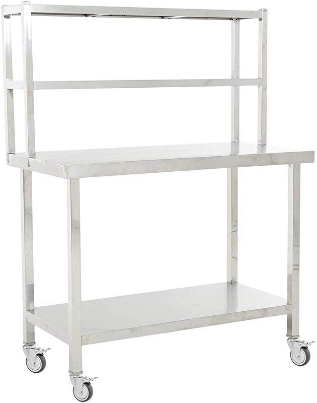Stainless Steel Commercial Kitchen Prep Work Table 45 In X 23in 0 8MM Thickness With 2 Tier Double Overshelf