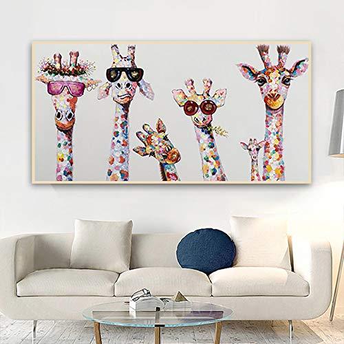 Nativeemie Lienzo Art Pared Gafas Jirafa Coloridas Carteles Familia Animales Impresiones Lienzo Dibujos Animados Pintura Art Pared Imágenes Sa Estar Decor para el hogar 20x50cm / 7.8'x19.7 Sin Marco