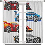 Aishare Store Blackout Curtain, Collection of Formula Race Cars Modern Mechanical Technology Automotive Championship, 72 Inches Long Light Blocking Curtains for French Doors(2 Panels), Multicolor