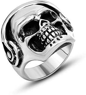 Anello Uomo Titanio Rock Cuff Cranio Band Party Tutti i Giorni, WLG, acciaio, taglia 9