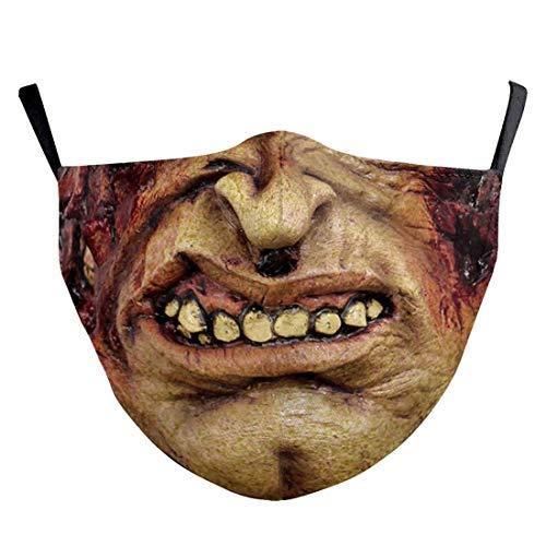 (H) おもしろマスク 面白い 変顔マスク 洗える 布 大人用 Mサイズ モンスター ゾンビ 怪物 皮膚 変装 ハロウィン 仮装 被り物 コスプレ 衣装 パーティーグッズ おもしろ雑貨