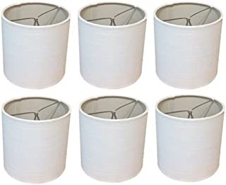 Upgradelights 7 Inch Tapered Drum Clip On Chandelier Lampshade 6x7x7 (Set of 6) (White Linen)