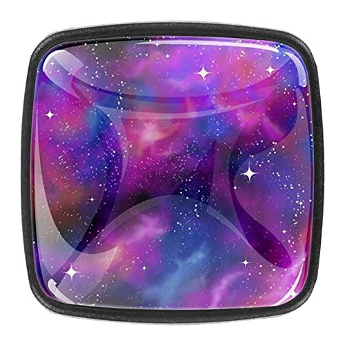 Pomos de cajón para armarios, armarios, mesitas de noche, 4 piezas Galaxy Starry Sky
