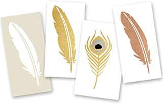Flash Tattoos Gypsy Feathers Variety Set of 24 assorted premium waterproof metallic jewelry gold & silver temporary foil boho party Flash tattoos, party favor, festival, Party Supplies
