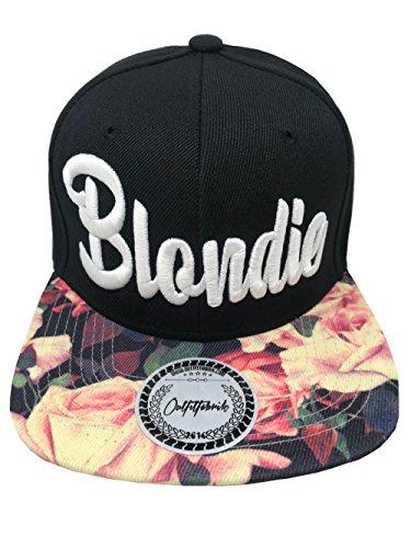 Outfitfabrik Snapback Cap Stickerei für Damen Blondie, Kappe in schwarz mit Flower-Schirm/floral Print und hochwertigem 3D-Stick in weiß, One-Size, verstellbar an der Rückseite