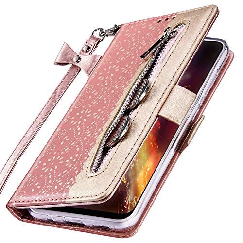 MoreChioce kompatibel mit Samsung Galaxy A80 Hülle,Galaxy A90 Leder Wallet Case,Kreativ Rosa Gold Spitze Klapphülle Stand Flip Case Protective Brieftasche Handytasche Magnetische mit Kartenfach