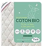 P'TIT LIT - Matelas Bébé Coton Bio - 70x140 cm - 100% Coton : matière Naturelle d'origine Végétale - sans Traitement Chimique - Déhoussable - Oeko Tex - Fabrication Française