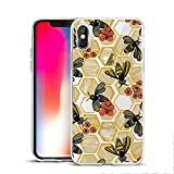 Fashion Cute Bee Printed Clear Design Case for iPhone X/iPhone Xs, MAYCARI Soft TPU Bumper Protective Case Cover for Girls Women