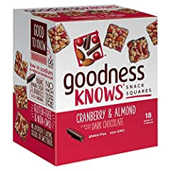 FRUIT AND NUT BAR: Contains 1 box of eighteen (18) 1.20 ounce packs of goodnessKNOWS Cranberry, Almond and Dark Chocolate Bars REAL INGREDIENTS: Each pack includes 4 bite size, healthy snack squares made with roasted almonds, toasted rolled oats, tan...