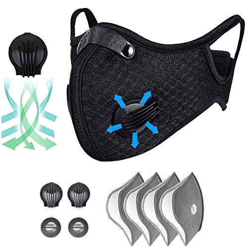 QILU Covịd Face Shields for Adults, Masks Filters for Coronɑvịrus Protection Washable, Reusable Face Mask for Women, Black Face Masks Reusable, Black Masks Washable - for Running, Cycling