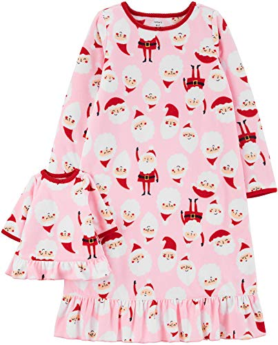 Carter's Girls' 4-14 Jersey Gown and Doll Dress Set (4-5, Pink/Santa)