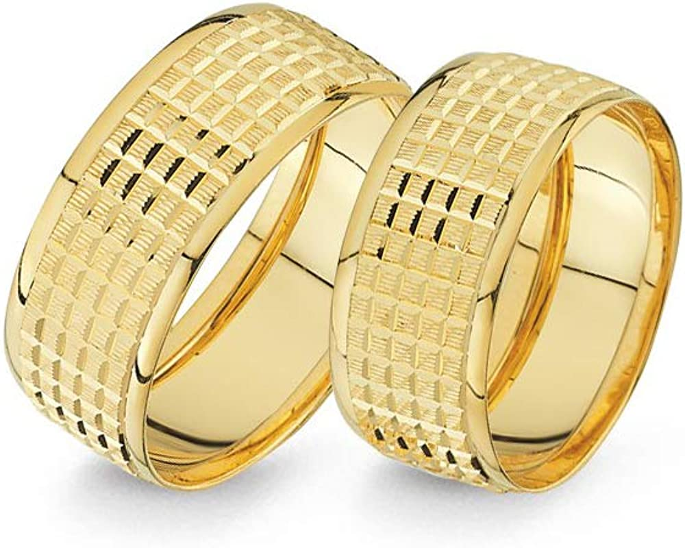 Anelise 14K Real Solid Yellow Fine Gold 1320 Wedding Band Rings Set For Women and Men - 2 gr + 2.4 gr 8 mm Dainty Rings