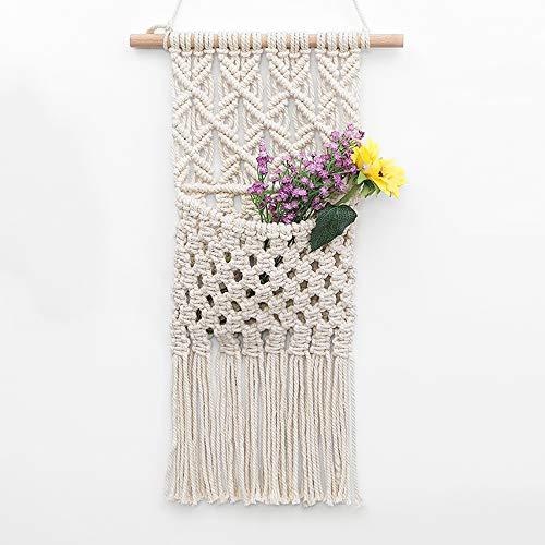 OAKEER Macrame Flowers Storage Key Organizer Mail Holder Cotton Woven Hanging Pocket Boho Wall Decor Art,11
