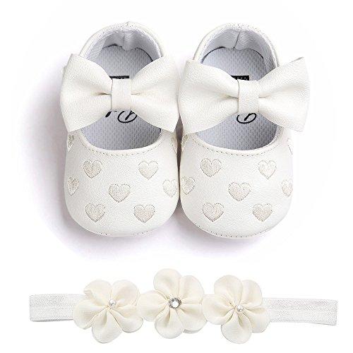Chaussures Bébé Fille Ballerines Noeud+Bandeau Fleur Ensemble Anniversaire Baptême Cérémonie Bambin bebe 0-18mois Semelle Souple Anti-dérapant Princesse Chaussures (11(0-6mois), A)
