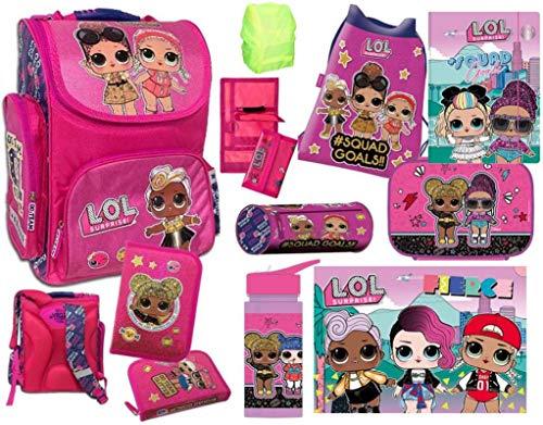 L.O.L. LOL Surprise Mädchen Schulranzen Set 10 teilig - Pink/Lila/Violet mit Turnbeutel, Schüleretui, Schlampermäppchen, Geldbörse, Brotdose, Trinkflasche,Unterlage, Mappe und Regenschutz