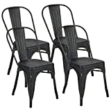BONZY HOME Metal Dining Chairs Distressed Style,Stackable Side Chairs with Back, Indoor Outdoor Use Chair for Farmhouse, Patio, Restaurant, Kitchen, Set of 4(Golden Black)