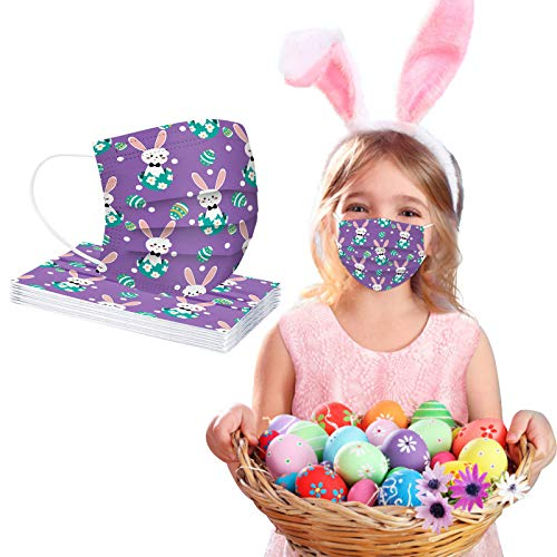 CawBing Children Easter Purple Disposable_Face_mask_protection Soft Breathable 3 Ply Popular Easter Eggs and Rabbit Printing Face_mask_protection for Outdoor Anti-dust (10 Pcs)
