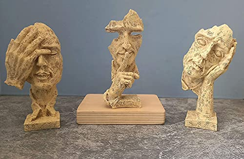 DIVMAN Human Face Expression Sculptures Showpieces Based on Modern Theme Abstract Design Art Figurines for Home Decor Living Room Decorative Display (Set of 3)