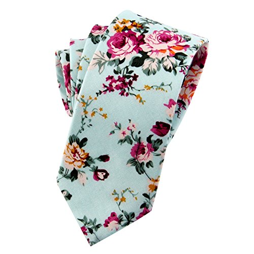 Mantieqingway Men's Cotton Printed Floral Neck Tie 013