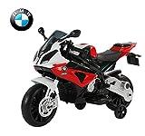Homcom BMW S1000 RR Moto électrique pour Enfants 2 Moteurs 6 V 2,5-5 Km/h Phare klaxon béquille roulettes Amovibles Rouge