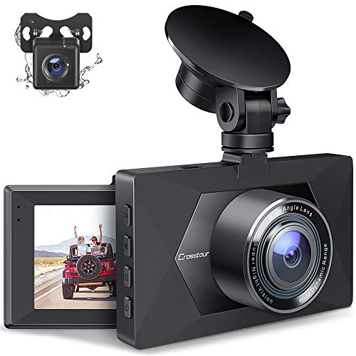 Crosstour Dash Cam, Front and Rear Car Camera, Dual Dashboard Camera, Car Driving Recorder 3 Inch LCD Screen 170° Wide Angle, Parking Monitor, Loop Recording, G-Sensor, WDR, Motion Detection(CR350S)