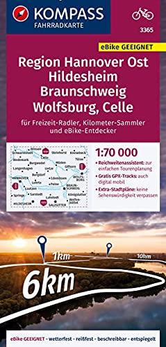 KOMPASS Fahrradkarte Region Hannover Ost, Hildesheim, Braunschweig, Wolfsburg, Celle 3365: Fahrradkarte. GPS-genau. 1:70000 (KOMPASS-Fahrradkarten Deutschland)