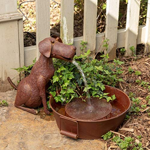 Park Hill Collection Best Friend Dog Fountain Spitter with Pump is Great Decor for Patio, Deck and Home, Folk Art Inspired Metalwork, 23x13x13.25 Inches