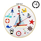 Xnuoyo Kits De Inicio De Bordado De Reloj, Kits De Punto De Cruz De Bricolaje, Juego De Punto De Cruz De Reloj De Pared, Con Aguja De Bordar, Hilos, Tela, Aro Y Accesorios De Reloj (Barco, 10 in)