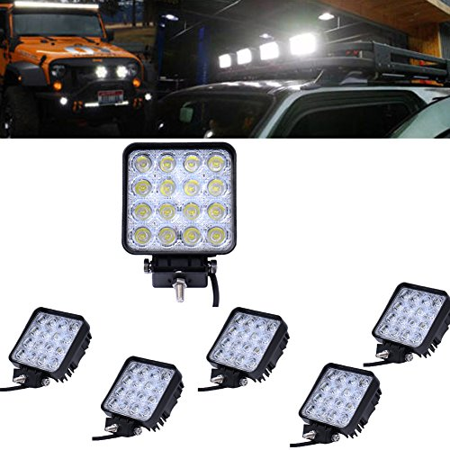 6x 48W espacio LED trabajo luz auto notebook Faro Luz niebla iluminación exterior para Offroad Car Jeep Boots SUV Camiones IP67